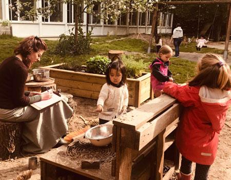 Kindergarten teacher with students