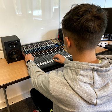 Middle School recording in school studio