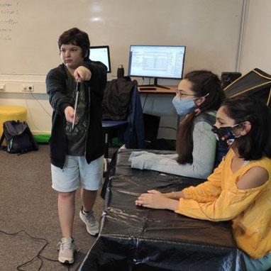 Recording Mustang TV in school studio
